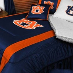 Sports Coverage - Auburn Tigers NCAA Bedding - Sidelines Comforter and Sheet Set Combo - Queen - This is a great Auburn Tigers NCAA Bedding Comforter and Sheet set combination! Buy this Microfiber Sheet set with the Comforter and save off our already discounted prices. Show your team spirit with this great looking officially licensed Comforter which comes in new design with sidelines. This comforter is made from 100% Polyester Jersey Mesh - just like what the players wear. The fill is 100% Polyester batting for warmth and comfort. Authentic team colors and logo screen printed in the center.   Microfiber Sheet Hem sheet sets have an ultrafine peach weave that is softer and more comfortable than cotton.  Its brushed silk-like embrace provides good insulation and warmth, yet is breathable.  The 100% polyester microfiber is wrinkle-resistant, washes beautifully, and dries quickly with never any shrinkage. The pillowcase has a white on white print beneath the officially licensed team name and logo printed in vibrant team colors, complimenting the NEW printed hems. The Teams are scoring high points with team-color logos printed on both sides of the entire width of the extra deep 4 1/2 hem of the flat sheet.  Includes:  -  Flat Sheet - Twin 66 x 96, Full 81 x 96, Queen 90 x 102.,    - Fitted Sheet - Twin 39 x 75, Full 54 x 75, Queen 60 X 80,    -  Pillow case Standard - 21 x 30,    - Comforter - Twin 66 x 86, Full/Queen 86 x 86,