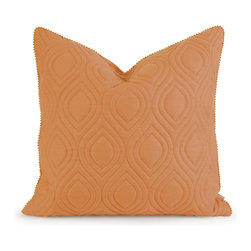 iMax - iMax IK Kavita Orange Linen Quilted Pillow w/ Down Fill X-55124 - Iffat Khan has developed a luxurious collection of down pillows with quilted details and top of the line fabrics. Iffat's refined aesthetic is evident in her collection which combines clean modern, classic casual and timeless traditional styles with her own creative twist.