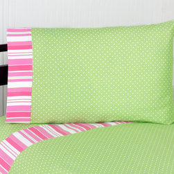 Sweet Jojo Designs - Sweet JoJo Designs 200 Thread Count Olivia Bedding Collection Sheet Set - These sheets use a green and white mini polka dot print 100-percent cotton fabric with designer stripe trim. Made to coordinate with the matching Sweet JoJo bedding set, this sheet set is machine washable for easy care.