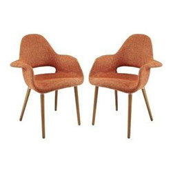 """LexMod - Taupe Dining Armchair Set of 2 in Orange - Taupe Dining Armchair Set of 2 in Orange - Repose in a chair that constantly forms and reforms new definitions of reality. Let tensions fade away as you embrace the ability to initiate and innovate. Four wooden legs support the diagonal look of the Taupe Accent Chair where fresh ideas are spun. Set Includes: Two - Taupe Accent Chair Mid-century design with a modern look, Supportive high back and arms, Foam padding for comfort, Medium brown wooden legs, Patterned tan and beige twill fabric, Finely upholstered fabric, Assembly required Overall Product Dimensions: 25""""L x 28.5""""W x 35""""H Seat Height: 18.5""""L x 16""""W x 18.5""""H Armrest Dimensions: 6""""W x 8""""HBACKrest Height: 18""""H - Mid Century Modern Furniture."""