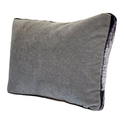 Mohair Pillow - Silver With Black Tuxedo Stripe - Simply designed and slightly masculine, the Mohair Pillow with Tuxedo Stripe is an ideal accessory for when you want to change a rooms color palette or update the feel of a room. Place a grouping of these pillows, on a bench in an entry way or in a game room chair for maximum exposure and admiration.