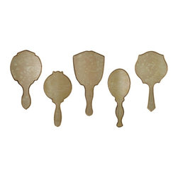 """IMAX CORPORATION - Penelope Hand Mirror Wall Decor - Set of 5 - Reminiscent of vintage fashion mirrors, this five piece set of Penelope Hand Mirrors has an antiqued mirror with a thin line gold frame. Hang on the wall or lay flat on a vanity for a shabby chic appeal. Set of 5 in various sizes measuring around 16.5""""L x 15.5""""W x 10""""H each. Shop home furnishings, decor, and accessories from Posh Urban Furnishings. Beautiful, stylish furniture and decor that will brighten your home instantly. Shop modern, traditional, vintage, and world designs."""