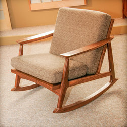 Berkeley Mills - Masaya Rocking Chair - Rocking chairs, so much more than just a chair. The Mid Century inspired Masaya Rocker takes up very little floor space, and by reversing the seat and back cushion you can change the depth of the seat to better fit your body. Mortise & tenon joinery mean it's made to last for generations. Pick the leather or fabric from our wide selection, then choose your wood. We offer FSC® certified Cherry, Walnut, Maple and Teak standard, but you can choose any other wood or fabric/leather you can think of.