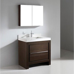 """Madeli - Madeli Vicenza 36"""" Bathroom Vanity with Quartzstone Top - Walnut - Madeli brings together a team with 25 years of combined experience, the newest production technologies, and reliable availability of it's products. Featuring sleek sophisticated lines Madeli vanities are also created with contemporary finishes and materials. Some vanities also feature Blum soft-close hardware. Madeli also includes a Limited 1 Year Warranty on Glass Vessels, Basin, and Counter Tops. Features Base vanity with two soft-close drawers Walnut finish Polished Chrome handle and leg finish 3""""H Quartzstone Countertops come in White or Soft Grey finish Quartzstone Countertops come with single faucet or 8"""" widespread faucet holes Ceramic undermount sink with overflow Faucet and drain are not included Backsplash included Matching mirror and medicine cabinet available Limited 1 Year Warranty on Glass Vessels, Basin, and Counter Tops How to handle your counter Spec Sheet Installation Instructions"""