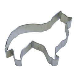 RM - Collie Dog 4.5 In. B1200X - Collie Dog cookie cutter, made of sturdy tin, Size 4.5 in., Depth 7/8 in., Color silver