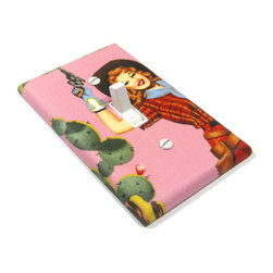 Redhead Gunslinger Pinup Cowgirl Pink Light Switch Cover by Modern Switch - This Etsy shop has a jillion covers to suit your fancy, but I think the pinup cowgirl is just the right one.