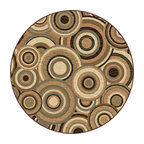 Tayse Rugs - Elegance Beige and Green Round: 7 Ft. 10 In. Rug - - Circles aligned in conformity create visual energy in a room with this transitional to contemporary area rug. Beige, brown, green and blue. Soft polypropylene fibers in a plush 0.39'' pile height. Vacuum and spot clean.  - Square Footage: 61  - Pattern: Geometric  - Pile Height: 0.39-Inch Tayse Rugs - 5382  Multi  8 Round