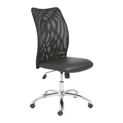Eurostyle - Eurostyle Sabati Mesh Office Chair No Arms in Black and Chrome - Eurostyle - Office Chairs - 02750BLK - Long hours at the office have almost become the norm. So it�s time to make sure everyone is comfortable. A foam seat moves with you and creates a naturally relaxing shape. The mesh back is light and airy and lowers the temperature should things get hot at the office.