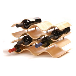 Wooden Waves Wine Rack - If you're good and try to hold on to your wine to let it age, make sure you're at least enjoying the wait. Displaying your collection in this stylish wine rack is the perfect way to keep your precious bottles near, but not too near. The curved natural wood is sleek and elegant, adding a decorative element to your dining room or kitchen.