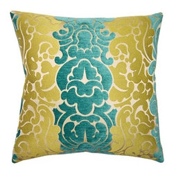 Squarefeathers - Peacock Pillow, Grace Pillow - The Peacock collection is bright and exuberant. Throw some color into your home and amaze your guests. Made of rayon and polyester with a lime polyester chenille back and has a knife edge trim. It has a soft and pump feataher/down insert inclosed with a zipper. Like all of our products, this pillow is handmade, made to order exclusively in our studio right here in the USA.