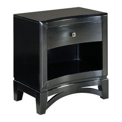 Standard Furniture - Standard Furniture Memphis 1-Drawer Nightstand in Sleek Black - Polished and upscale with its sweeping modern lines and sleek black paint finish, Memphis conveys an air of urban architectural drama.
