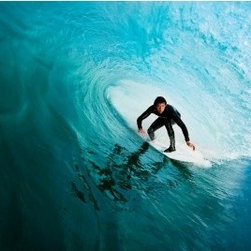 LimitLess Walls - Surfer Mural - Big wave surfer mural. Our removable canvas wallpaper has no paste and leaves no mess. Apply yourself again and again.