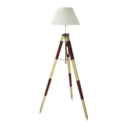 Authentic Models - Surveyor's Tripod Lamp, Red/White - In the 1950s, a surveyor's job was not always a safe one - trespassing on rural roads and in highway traffic. They needed clothing made in bright red and white schemes to make sure they were seen. Or was it because they didn't want to be confused with they highway patrol checking on speeding cars? Whatever the reason, it seems only fitting that we would release this exquisite surveyor's tripod lamp in those classic colors of red and white. Like their fifty-year-old originals, they are made of lightly distressed wood and brass, and will survive the ages.