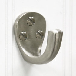 Solid Brass Single Wardrobe Hook - Brushed Nickel - Solidly constructed and nicely finished, this solid brass wardrobe hook is the perfect accent to any wall or door and can be used for hanging robes, coats and other garments.
