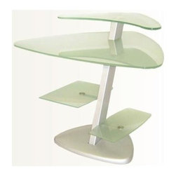 Chintaly - Frosted Glass Multi-Surface Computer Desk w M - Frosted glass. Metal arms. Unique glass shelf and base. Assembly required. 33 in. W x 42 in. L x 29 in. H