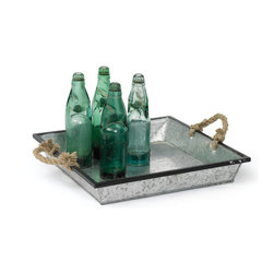 Go Home - Tin Trays With Rope Handles, Set of 2 - Fantastic Tin Tray with Rope handles available in set of 2 is crafted with glass, metal,rope and naturally finish.It offers ample space to display drinks and serve small eats. A perfect addition to your serve ware.