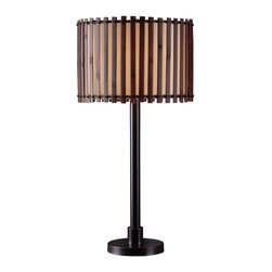 Kenroy - Kenroy KR-32279BRZ Bora Outdoor Table Lamp - With a look of hand lashed slats in its distinctive shade, Bora brings an exotic influence to a tropical decor or cabana setting. Totally casual, this Primitive design is made contemporary by a glowy inner drum shade that keeps light warm and even. Available as a 29 inch table lamp, Bora can be paired with its matching 59 inch floor lamp. Can be used outdoors or indoors, is rated for wet locations, and uses 1-100 Watt 3-Way Bulb.