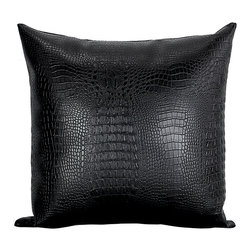 BIJOU COVERINGS - Croc Faux-Leather Throw Pillow, Black - The croc print  faux leather pattern on this pillow creates a simple yet luxurious statement. This beautiful design would be a great accent on a side chair or couch mixed with a collection of contrasting patterns. The pillow is filled 100% polyester insert.