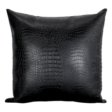 Bijou Coverings - Croc Faux-Leather Decorative Throw Pillow, Black - The croc print  faux leather pattern on this pillow creates a simple yet luxurious statement. This beautiful design would be a great accent on a side chair or couch mixed with a collection of contrasting patterns. The pillow is filled 100% polyester insert.