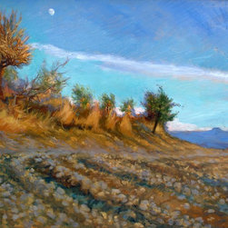 "Rebecca N King - ""Moon over Pienza"" Original Oil Painting Art - The peaceful moon chases the sunset and inspires you today and for years to come.  This original artwork was produced on location in Tuscany in 2011 by artist Rebecca N King as part of a collection of Tuscan plein air works.  Contrasts of warm earth and vaulting sky are bordered by a flaming bush of gold. The perfect statement piece.  Available unframed."
