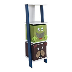 Altra Furniture - Luci Ladder Bookcase with 2 Bins in White and Blue - 3 shelves hold bins, books, and office supplies. Leaning effect. Frog and Bear bins included. 12.91 in. L x 11.5 in. W x 40.91 in. H (12.94 lbs)Squeeze in a little extra storage space anywhere you need it. This cute, vertical bookcase is small but mighty when it comes to conquering clutter. It features three open shelves with blue sides, plus two roomy frog and bear bins.