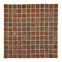 Somertile - SomerTile 12x12-in Samoan 1-in Antique Copper Porcelain Mosaic Tile (Pack of 10) - Update your kitchen or bath with this beautiful porcelain mosaic tile from SomerTile. Each tile is made from 144 smaller pieces that are intended to have grout placed between them. The antique copper color will match many dark color schemes.