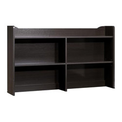 Nexera - Nexera Pocono Bookcase Hutch for Double Dresser - Pocono Bookcase Hutch from Nexera is the perfect addition to your Pocono bedroom set if you need more storage space for books, frames, decorative pieces,etc. Simply install Pocono Bookcase Hutch on top of Pocono 6-Drawer Double Dresser to instantly increase your storage capacity. The hutch features 4 open sections with 2 adjustable shelves and 1 top shelf with decorative trim. Pocono Collection from Nexera is a timeless and functional collection offered in a rich Espresso laminate finish with decorative metal handles.