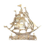 """Brass Tall Ship Key Hanger - The brass tall ship key hanger is available in size 5.5"""". It is made of sand cast, solid, polished brass and made to last. It will add a definite nautical touch to wherever it is placed and is a must have for those who appreciate high quality nautical decor. It makes a great gift, impressive decoration and will be admired by all those who love the sea."""