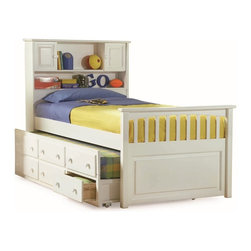Atlantic Furniture - Twin Captain's Twin Bed / 3-Drawer Trundle / White - Amazingly comfortable, beautiful, stylish, modern and fashionable bed. This bed has an under bed trundle that includes 3 storage drawers. The head board features shelves and two cabinets.