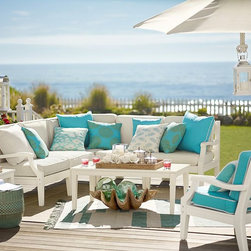"""Hampstead Painted Sectional Components, White - I love this gorgeous Hampstead collection from Pottery Barn. It would be so great for relaxing for hours. All those pillows just say, """"Come. Relax. Make yourself at home."""" And I think that's exactly what a front porch should say."""