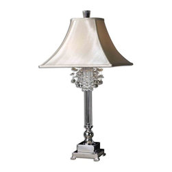 Carolyn Kinder - Carolyn Kinder Fascination Transitional Table Lamp X-72962 - This lamp features silver plated metal with crystal accents. The square bell shade is a silkened champagne textile.