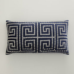 "Callisto Home - Callisto Home Greek Key Bead Pillow, 14"" x 25"" - Hand-sewn and hand-embroidered bed linens showcase airy and intricate applique work in cream and navy. Made of linen and navy rayon velvet by Callisto Home. Imported. Dry clean. Cream linen dust skirt has split corners and a 20"" drop. Decorative pill..."