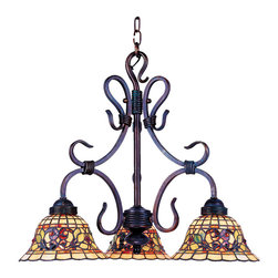 Elk - Tiffany Buckingham 3-Light Chandelier in Vintage Antique w/ Tiffany Style Glass - The tiffany Buckingham collection sports our popular iron hardware and has a new stained glass design for a fashion-forward aesthetic.