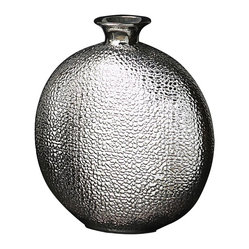 Howard Elliott - Metallic Crocodile Vase - This medium sized ceramic vase features a faux crocodile print texture on its globe shaped body. It is finished in a bright nickel glaze.