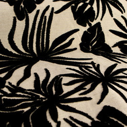 Versailles Tropics Upholstery in Black - Versailles Tropics Upholstery Fabric: Black & White Floral Print. Cotton blend perfect for reupholstering chairs, bedding, pillows, curtains or drapery.