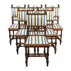 EuroLux Home - 6 Consigned Antique French Dining Chairs 1900 Oak - Product Details