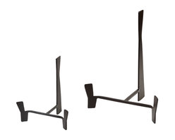 Studio A - Plate Stand - Small - Black-brown powder coated iron finish. Available in two sizes. Each size sold separately.