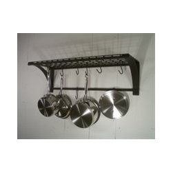 Rainsford & Gale 920 Epicure Pan Rack, Dark Wrought - Classic wrought iron wall mount pot rack which will handle a serious cooks pots and pans. Plenty of room for storage on top and room to hang your garlic and herbs as well.
