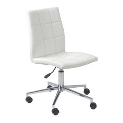Eurostyle - Eurostyle Cyd Adjustable Height Swivel Office Chair in White - Adjustable Height Swivel Office Chair in White belongs to Cyd Collection by Eurostyle The Cyd Armless Chair represents the future of modern chair design with its innovative style and progressive seating concept. Featuring a chromed steel frame with a quilted leatherette seat and back available in 2 different color options including black and white. These features combined with the polished aluminum base, along with staple features such as swivel and gas lift height adjustment make the Armless Cyd Low Back a great modern seating choice for conference rooms and offices alike! Office Chair (1)