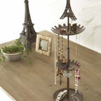 Eiffel - Brown Metal Tower Stand with Tray for Jewelry and Accessories, Modern J - An attractive way to store your chains, necklaces and other small essentials.
