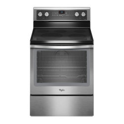 """Whirlpool - WFE710H0AS Gold 30"""" Freestanding Electric Range with 5 Sealed Burners  6.2 cu. f - The WFE710H0A is the largest capacity range available 4 3 at 62 cu ft The TimeSavor Plus true convection cooking system uses a rear fan and a third heating element in the back of the oven to seal in flavor and juices Using convection cooking is easy ..."""