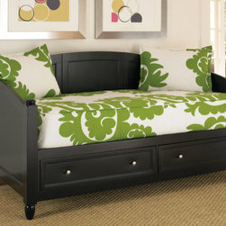 Home Styles - Bedford Daybed - Features: -Bedford collection. -Mahogany solid and cherry veneers construction. -Recessed drawer fronts and brushed nickel hardware. -Two large storage drawers. -Solid wood slats for strength and stability.