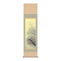 Hanging Scroll Kachoga Plum - Kacho-ga style Japanese hanging scroll with beautiful paint of plum.  It is painted by Chikuse Tamura.  Chikuse earned degree from Tama Art University and then learned from his master Murauchi.  His speciality is in space designing.