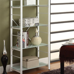 Coaster - Bookshelf, White - Four tiered bookshelf with white frosted glass shelves, white powder coated metal frame and a x style back support. Pair this bookshelf with a modern black and white desk (#800405).