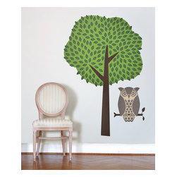 Design Your Wall - Owl and Tree - Wall Decal - Now you can have your very own pet owl! Comes with perch and tree.