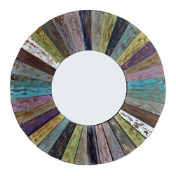 Round Mango Wood Mirror DAURA, Multi-Colored - A fun round mirror with colors that bring a touch of the South Sea into your home.