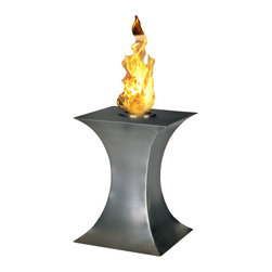 PureFlame - Concave Portable Ventless Tabletop Ethanol Fireplace - Concave, with a styling that's just that, is ideal for creating emotional decor. Providing a 360 degree, open view of the dancing flame, Concave provides comforting warmth in a small space or patio. This fireplace offers an eco-friendly flame that is odorless. Bio Ethanol, an alternative fuel source produced from plants, only emits water vapor and carbon dioxide into the air. Although ethanol fireplaces aren't intended for use as a primary heat source, the Concave model produces heat that will change the ambient temperature of a small area. An unobstructed view is offered through the open flame of this piece, and it may not be suitable for use in the proximity of children. Appropriate for any modern or contemporary living space, Concave is offered in brushed stainless steel.