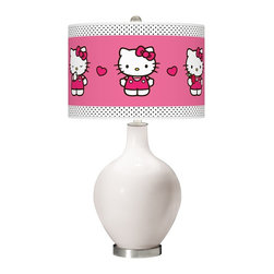"Hello Kitty - Contemporary Smart White Hello Kitty Pink and Polka Dots Ovo Table Lamp - Add a bold cheerful accent to your home décor with this Hello Kitty table lamp. Hand-crafted by experienced artisans in our California workshops the Smart White high-gloss base is topped with a matching Hello Kitty Pink and Polka Dots pattern shade officially licensed from Sanrio. This contemporary design brings the iconic Kitty to life on a custom-printed giclee shade made of high-quality translucent fabric that allows light to shine through the shade. U.S. Patent # 7347593. Officially licensed design from Sanrio. Smart White designer glass table lamp. Hello Kitty Pink and Polka Dots pattern translucent shade. Brushed steel finish accents. Maximum 150 watt bulb (not included). 28 1/2"" high. Shade is 15 1/2"" wide and 11"" high. Base is 6"" wide. May only ship to the United States its territories possessions and the Commonwealth of Puerto Rico. ©1976 2013 Sanrio Co. Ltd. Used Under License.  Officially licensed design from Sanrio.  Smart White designer glass table lamp.  Hello Kitty Pink and Polka Dots pattern translucent shade.  Brushed steel finish accents.  Maximum 150 watt or equivalent bulb (not included).  28 1/2"" high.  Shade is 15 1/2"" wide 11"" high.  Base is 6"" wide.  May only ship to the United States its territories possessions and the Commonwealth of Puerto Rico.  ©1976 2013 Sanrio Co. Ltd. Used Under License."
