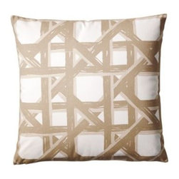 Serena & Lily - Havana Pillow Cover  Tan - The illusion of texture with a tropical twist. Our close-up of an airy cane weave puts on a painterly show with tonal shades of tan on an ivory ground. Group them in multiples for maximum drama.