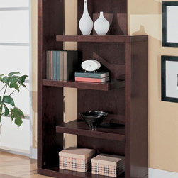 Coaster - Cappuccino Transitional Bookcase - This bookcase console creates a wall of storage and display. Finished in a cappuccino color.